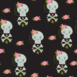 Scull with roses seamless wallpaper Stock Image