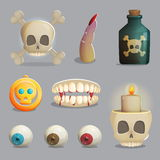Scull and spooky body parts themed items for game design Stock Photography
