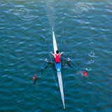 Sculler. Single person scull from above Stock Images
