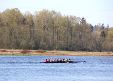 Sculling in Burnaby Lake. A team of nine practices the sport of competitive sculling in their 8 people shell. This is taken in Burnaby Lake, BC, Canada stock photo