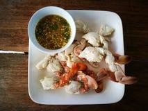 Sculling krabba för ånga med chilisås Royaltyfri Bild
