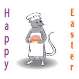Scullion with cake. Congratulations on the Easter fun boy royalty free illustration