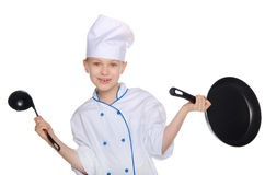 Scullion with kitchen utensils Royalty Free Stock Photo
