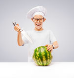 Scullion with watermelon in the studio Stock Image