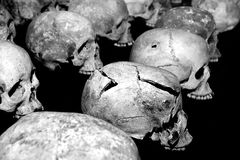 Sculls and bones of genocide victims Rwanda Royalty Free Stock Photo