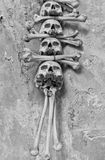 Sculls and bones in Sedlec Ossuary, Czech Republic Royalty Free Stock Images