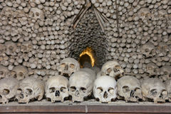 Sculls and bones in Sedlec Ossuary, Czech Republic. Sculls and bones in Sedlec Ossuary (Kostnice v Sedlci, circa 1400). Chapel is one of the most visited tourist royalty free stock image