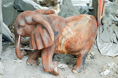 Sculpted representation of a wooden elephant Stock Images