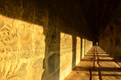 The Sculpted Wall at Angkor Wat Stock Image