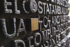 Sculpted words and numeric code on the Sagrada Familia's door. Stock Image