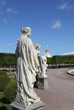 Sculptez le parc dans le jardin supérieur de Peterhof. Images libres de droits