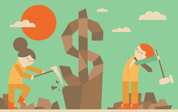 Sculptin Profit. Boss and manager use tools on a rock to sculpt a money icon Stock Photo