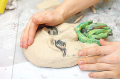 Sculpting craft with plasticine Stock Photos