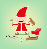 Sculpting Elf for Christmas Toys and Gifts for Santa Claus' gifts. An elft assembles toys for Santa Claus' Christmas Even delivery. resto and jpg stock illustration