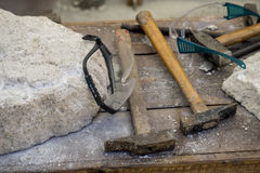 Sculpting, Traditional tools sculptor, wood, hammers and chisels Stock Photos