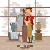 Sculptor Artist At Work Illustration Stock Photography