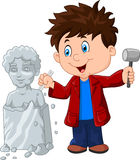 Sculptor boy holding chisel and hammer Royalty Free Stock Images