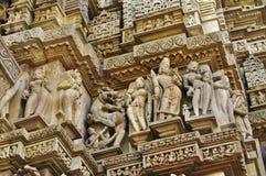 Sculptor of Hindu deities at Vishvanatha Temple, Western Temples of Khajuraho, Madhya Pradesh, India - UNESCO world heritage site. Sculptor of Hindu deities at Royalty Free Stock Images