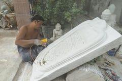 Sculptor in Myanmar Stock Images
