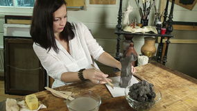 Sculptor working with clay. In a studio stock footage