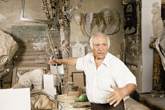 Sculptor in workshop Stock Photography