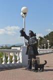 Sculptura der alte helle Wächter auf der Promenade des Erholungsortes Gelendzhik, Krasnodar-Region, Russland Stockbild