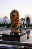 Sculptura lion in the Independence Park. Parks. Ashkhabad. Turkmenistan Royalty Free Stock Photo