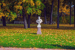 Sculptural bust of Poros in Catherine Park, Pushkin, St. Petersburg. Sculptural bust of Poros in Catherine Park, Tsarskoye Selo, Pushkin, St. Petersburg Royalty Free Stock Photo