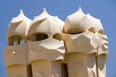 Sculptural chimneys on roof of Casa Mila, La Pedrera, by Antoni Gaudi, built between 1905-1911, Barcelona, Spain Royalty Free Stock Image