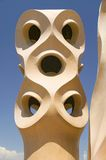 Sculptural chimneys on roof of Casa Mila, La Pedrera, by Antoni Gaudi, built between 1905-1911, Barcelona, Spain Stock Photo