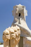 Sculptural chimneys on roof of Casa Mila, La Pedrera, by Antoni Gaudi, built between 1905-1911, Barcelona, Spain Stock Photos