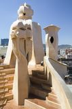 Sculptural chimneys on roof of Casa Mila, La Pedrera, by Antoni Gaudi, built between 1905-1911, Barcelona, Spain Royalty Free Stock Photography
