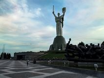 Ukraine, Kiev - September 17, 2017: Square in front of the Motherland Monument in the evening royalty free stock photography