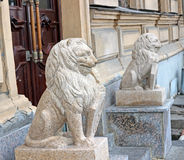 Sculptural composition in the form of lions Stock Photo