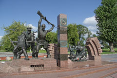 Sculptural composition Heroes of the border, women and children in the immortality of their courage departed memorial complex Stock Photos
