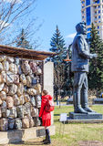 Sculptural composition of the memory of victims of Stalinist repression. And monument to J. Sverdlov in the Art Park `Museon` in Moscow Royalty Free Stock Image