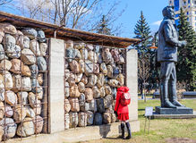 Sculptural composition of the memory of victims of Stalinist repression. And monument to J. Sverdlov in the Art Park `Museon` in Moscow Stock Images
