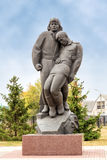 Sculptural composition tankman and infantryman. Prokhorovka. Russia. Prokhorovka, Russia - October 6, 2015: Sculptural composition tankman and infantryman. The stock image