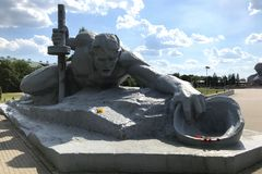 The sculptural composition `Thirst` in the Brest Fortress, Belarus stock image