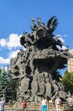 Sculptural composition `Tree of tales` by famous architect Zurab Tseriteli. Moscow Zoo, Russia. The Moscow zoo is popular showplace and entertainment both for Royalty Free Stock Photos
