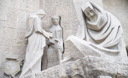 Sculptural composition of white stone. In the temple of the Sagrada Familia in Barcelona Stock Photos