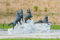 The sculptural composition Wolf packs Stock Image