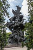 """Sculptural composition by Zurab Tseriteli """"Tree of life"""" in the Moscow zoo Royalty Free Stock Image"""