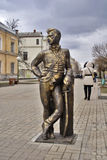 Sculptural compositions in city street. Sculpture in memory of brave hussars of the Sumy hussar regiment.Ukraine Stock Image