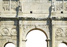Sculptural decoration Constantine arch. Bas-reliefs and sculptures on the triumphal arch of the Constantine emperor in Rome Royalty Free Stock Photography