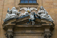 The sculptural decoration of the old house in Florence Stock Photo