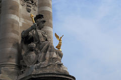 The sculptural decoration of Paris. PARIS, FRANCE - MAY 12, 2015: This is one of the sculptural decorations near the bridge of Alexander III stock images