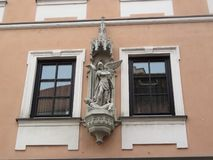 Sculptural decoration on the wall of the house. Photo filmed in Bamberg, Germany on November 2, 2018 royalty free stock images