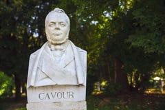 Cavour, Italian politician and patriot, sculptural representation. Sculptural depiction of Cavour politician and Italian patriot stock images