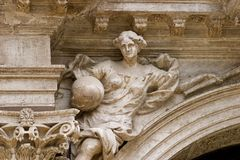Sculptural Detail. Of baroque church in Venice, Italy Royalty Free Stock Photos